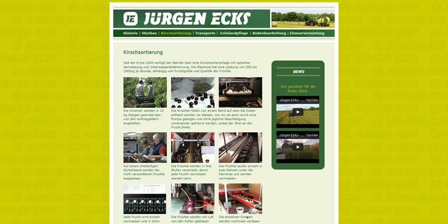 Jürgen Ecks, Obstbau und -sortierung